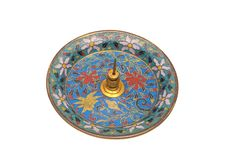 Ancient Chinese enamel plate stock image