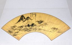 Ancient Chinese painting fan. The close-up of ancient Chinese painting fan collected by Imperial Palace Museum stock image