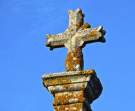 Close-up of an ancient Christian cross monument Royalty Free Stock Images