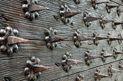 Close-up of the ancient entrance with many spikes Stock Images
