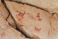 Pictographs in Grand Canyon. A close up of ancient Indian pictographs on a rock in the Grand Canyon, USA Stock Photos