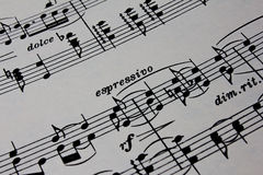 Close-up Ancient Sheet Music Royalty Free Stock Photos