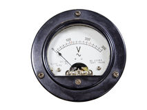 Close-up of ancient voltmeter. Close-up of an vintage ancient voltmeter stock photo