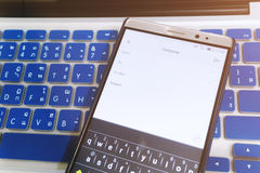 Close up Android device Showing Compose a new email application. On the screen Stock Photo