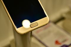 Close up of Android Phone on display. A New Android Phone is on display and the photo is taken at a close distance using a macro lens to isolate the detail and royalty free stock image