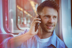 Close up of andsome man talking on mobile phone Royalty Free Stock Photos