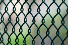 Close Up Angle of Green Chain Link Fence Stock Photo