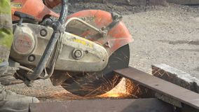 Close up of Angle Grinder in use stock footage