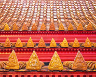 Close up Angle Statue at Roof Tiles of Temple Royalty Free Stock Photo