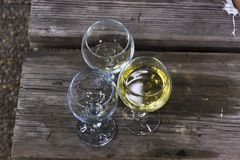 Close-up angled shot of wine glasses stock photography