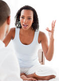 Close-up of an angry couple having an argument. In the bedroom stock photos