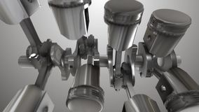 Close-up of animation engine pistons stock video