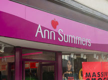 Close-up of the Ann Summers sign and logo above the entrance of Royalty Free Stock Images