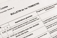 Close up of an anonymous French school report Stock Photos