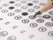 Close up answer sheet for school. Exam stock image