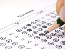 Close up answer sheet for school. Test Stock Photo