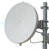 Close-up antenna dish for telecommunications with white backgrou Royalty Free Stock Images