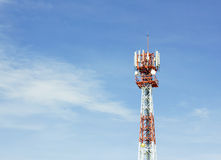Close up antenna repeater tower on blue sky Stock Image