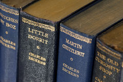 Books by Charles Dickens. Close-up of antique books by Charles Dickens Stock Photography
