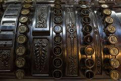 Close-up of an antique cash register Royalty Free Stock Photography