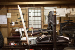 Close-up of antique letterpress printing machine. Color image, canon 5DmkII royalty free stock photo