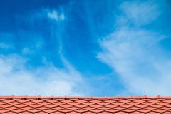 Close up antique red roof. Tile with blue sky Stock Photography