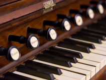 Close-up of antique reed organ harmonium Royalty Free Stock Images