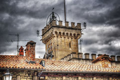 Close up of an antique tower in San Marino Stock Photo