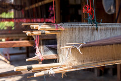 Close-up of Antique wooden Loom in terrace thai house Royalty Free Stock Image