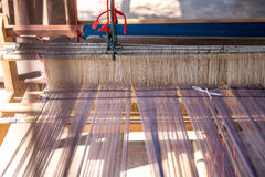 Close-up of Antique wooden Loom in terrace thai house Stock Images