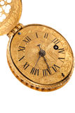 Close-up of antique yellow brass pocket watch Stock Image