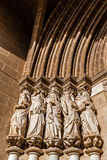 Close-up on the Apostles statues placed on the left side of the Evora Cathedral Portal in Portugal. Stock Photography