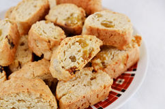 Close up of appetizing brown cakes with raisins Royalty Free Stock Images