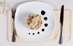 Close up Appetizing Main Entree on White Plate Royalty Free Stock Photos