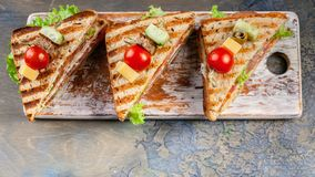 Close-Up appetizing sandwiches with beef and green salad. Traditional breakfast or lunch. Food banner stock image
