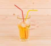 Close up of apple juice on wood table. Royalty Free Stock Photography
