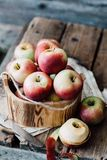Close-up of Apples in Wooden Bowl Stock Photos