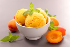 Apricot ice cream. Close up on apricot ice cream Stock Photo