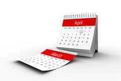 A close up of an April calendar Royalty Free Stock Photos
