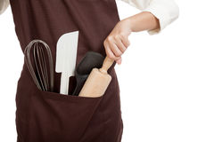 Close up of apron with  cooking and baking ,kitchen  tools Royalty Free Stock Image