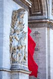 Close-up of Arc de Triomphe. Beautiful vertical view of details of Arc de Triomphe on a sunny day Royalty Free Stock Photo