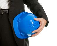 Close-up of architect/worker holding hard hat Stock Photos