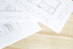 Close-up of architects blueprint. Stock Photo
