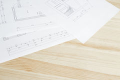 Close-up of architects blueprint. Royalty Free Stock Photography