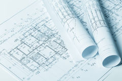 Close up of architectural blueprints Stock Photography