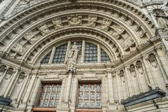 Close up architecture of Albert and Victoria Museum Building in London stock photography