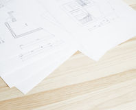 Close-up of architecture blueprint. Royalty Free Stock Images