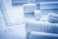 Close up of architecture construction plans Stock Photos
