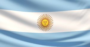 The flag of Argentina. Waved highly detailed fabric texture. Close up of Argentina flag blowing in the wind stock footage