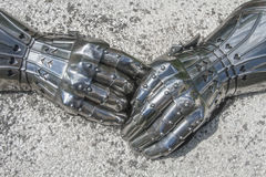 Close-up of armored gloves Royalty Free Stock Images